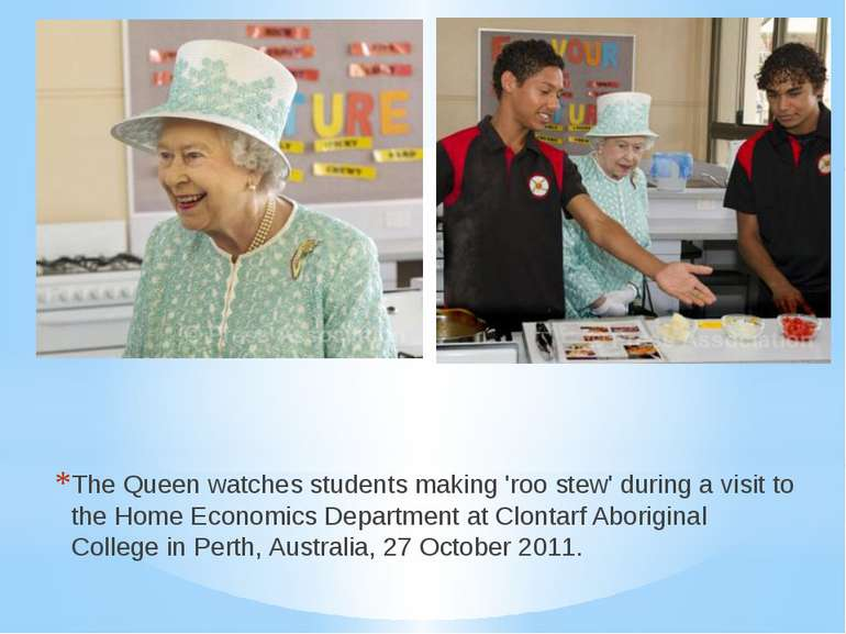 The Queen watches students making 'roo stew' during a visit to the Home Econo...