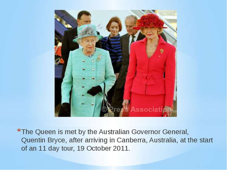 The Queen is met by the Australian Governor General, Quentin Bryce, after arr...