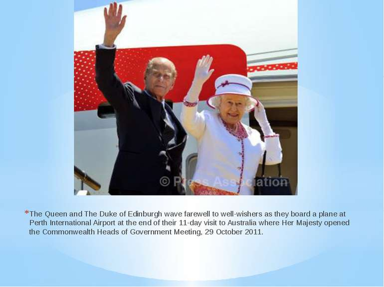 The Queen and The Duke of Edinburgh wave farewell to well-wishers as they boa...
