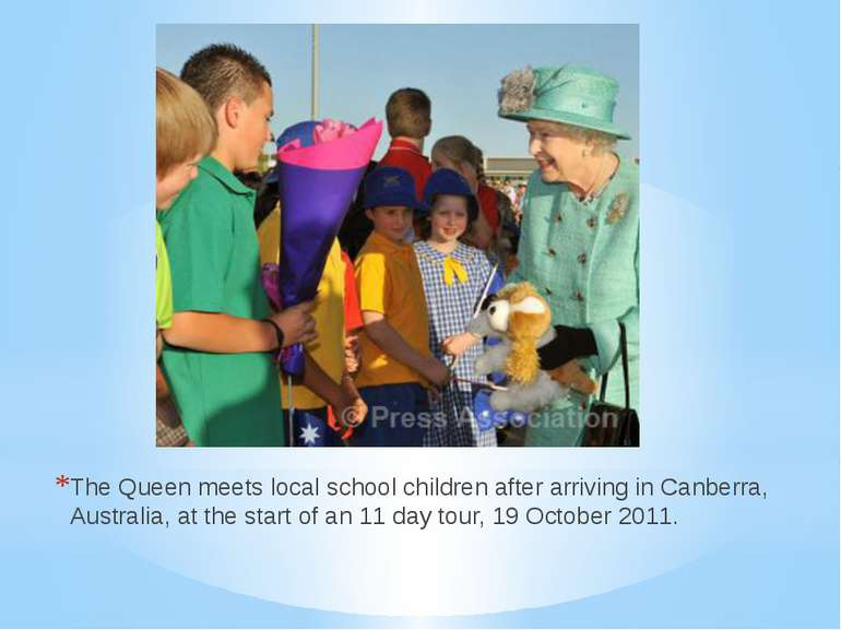 The Queen meets local school children after arriving in Canberra, Australia, ...