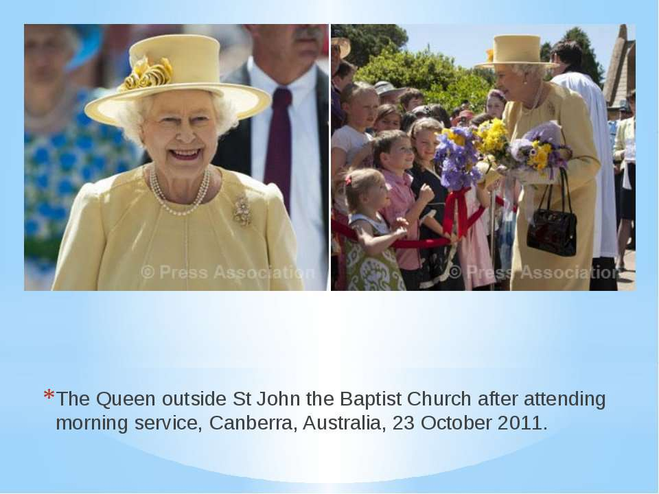 The Queen outside St John the Baptist Church after attending morning service,...