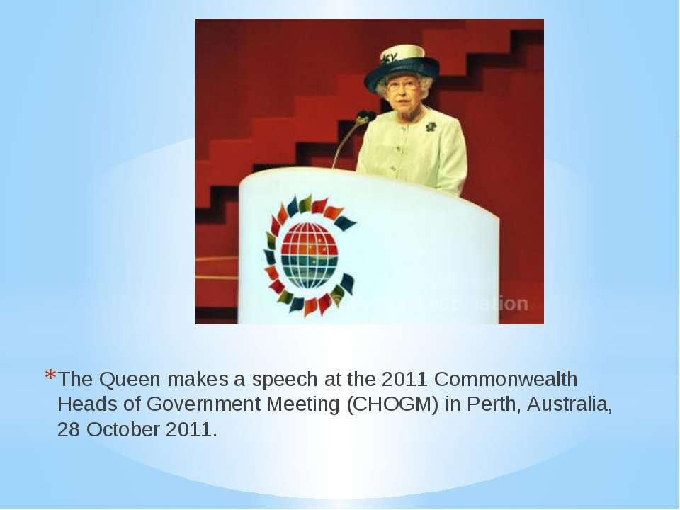 The Queen makes a speech at the 2011 Commonwealth Heads of Government Meeting...