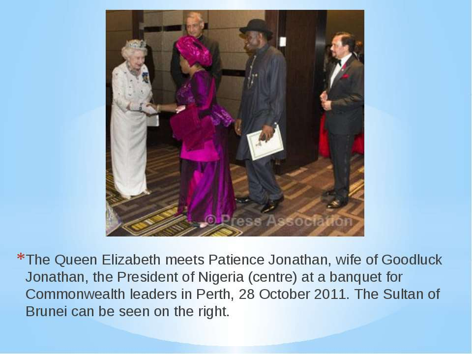 The Queen Elizabeth meets Patience Jonathan, wife of Goodluck Jonathan, the P...