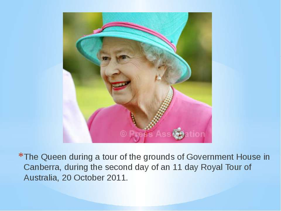 The Queen during a tour of the grounds of Government House in Canberra, durin...