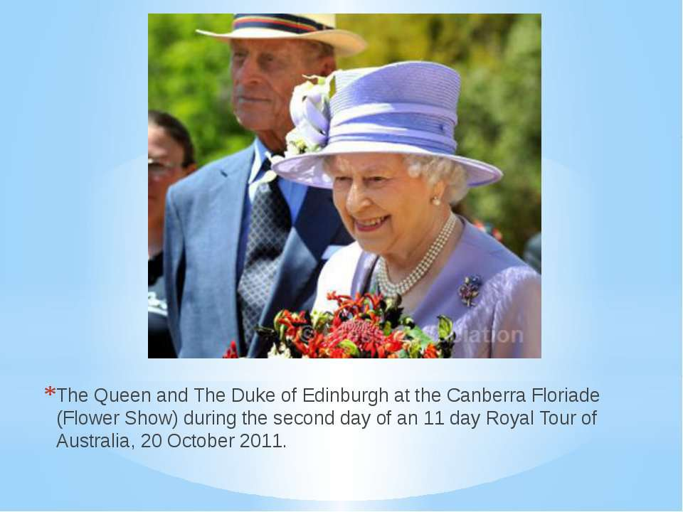The Queen and The Duke of Edinburgh at the Canberra Floriade (Flower Show) du...