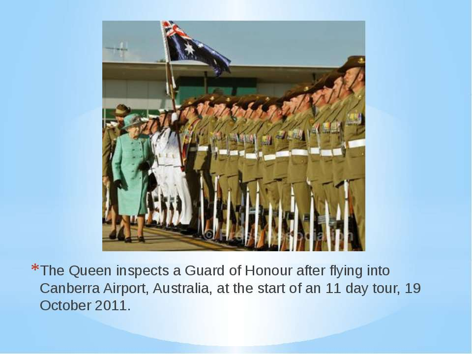 The Queen inspects a Guard of Honour after flying into Canberra Airport, Aust...
