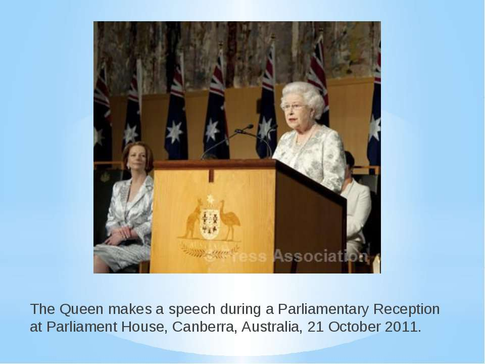 The Queen makes a speech during a Parliamentary Reception at Parliament House...