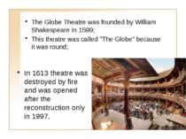 The Globe Theatre was founded by William Shakespeare in 1599; This theatre wa...