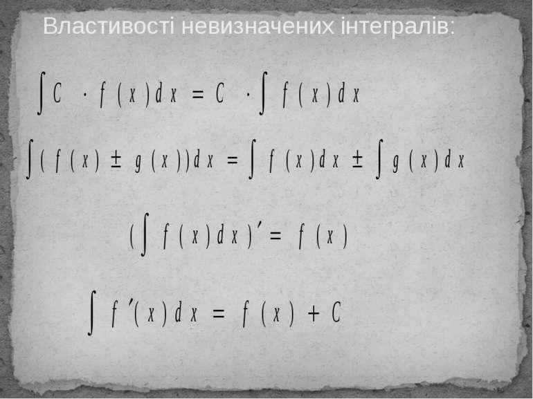 Властивості невизначених інтегралів: