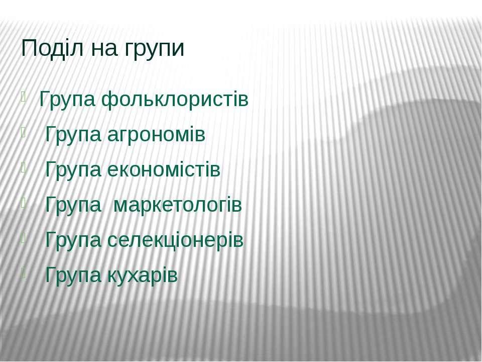 Поділ на групи Група фольклористів Група агрономів  Група економістів Група ...