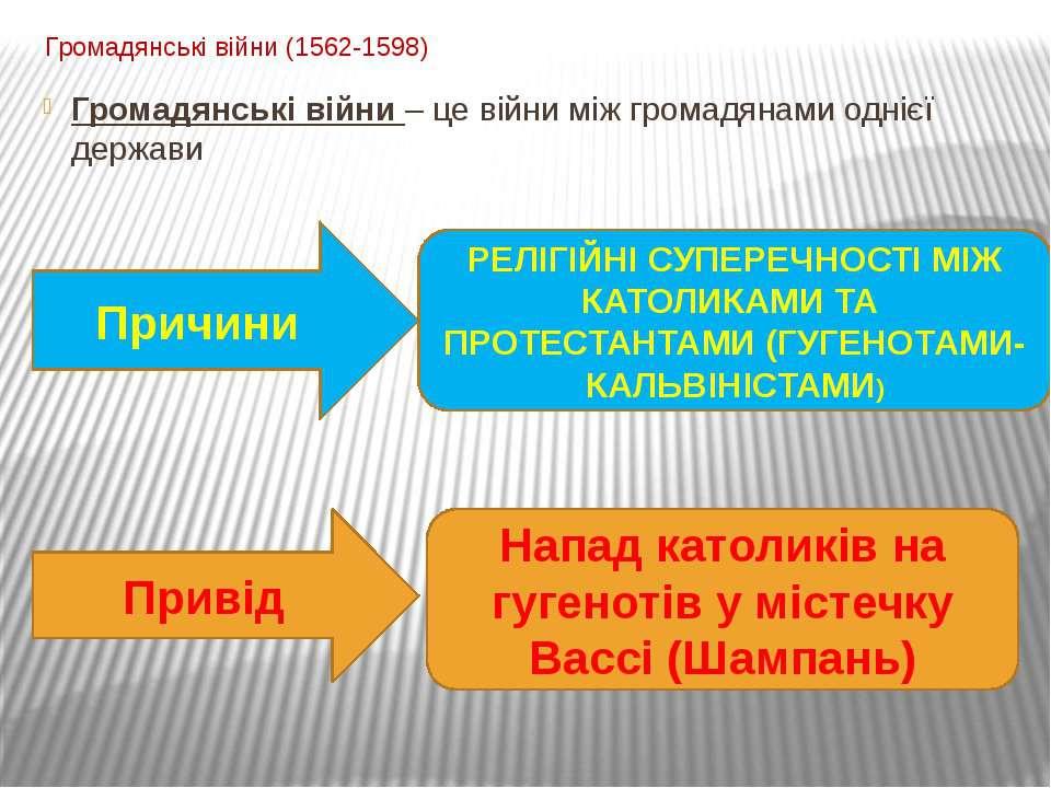 Громадянські війни (1562-1598) Громадянські війни – це війни між громадянами ...