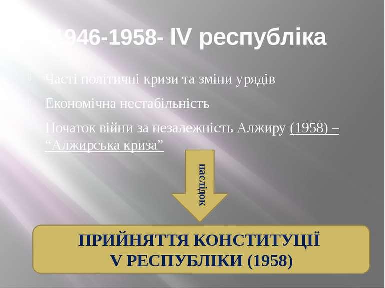 1946-1958- IV республіка Часті політичні кризи та зміни урядів Економічна нес...
