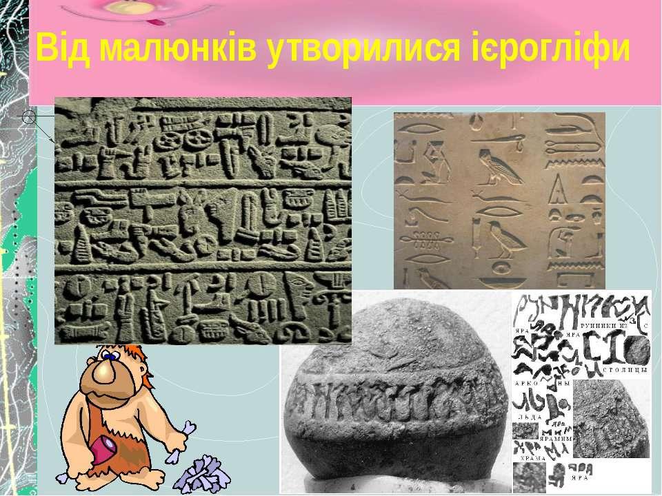Від малюнків утворилися ієрогліфи Від малюнків утворилися ієрогліфи. Слово «і...