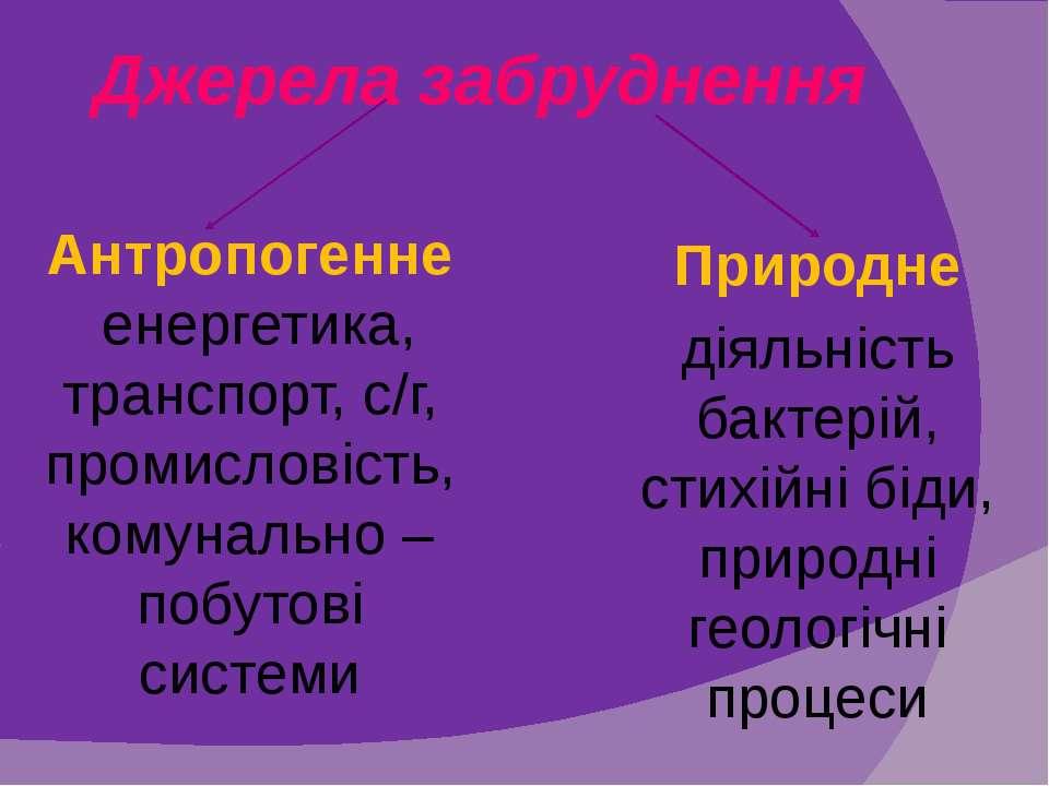 Джерела забруднення Антропогенне (енергетика, транспорт, с/г, промисловість, ...