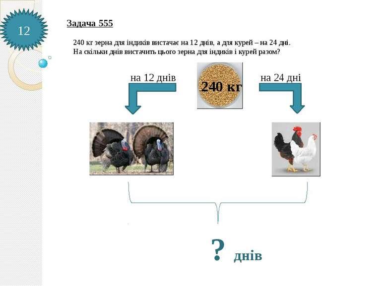 Задача 555 240 кг зерна для індиків вистачає на 12 днів, а для курей – на 24 ...