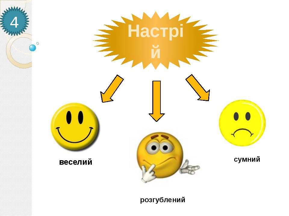 4 Настрій веселий сумний розгублений