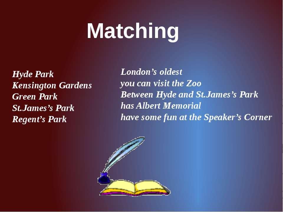Matching Hyde Park Kensington Gardens Green Park St.James's Park Regent's Par...