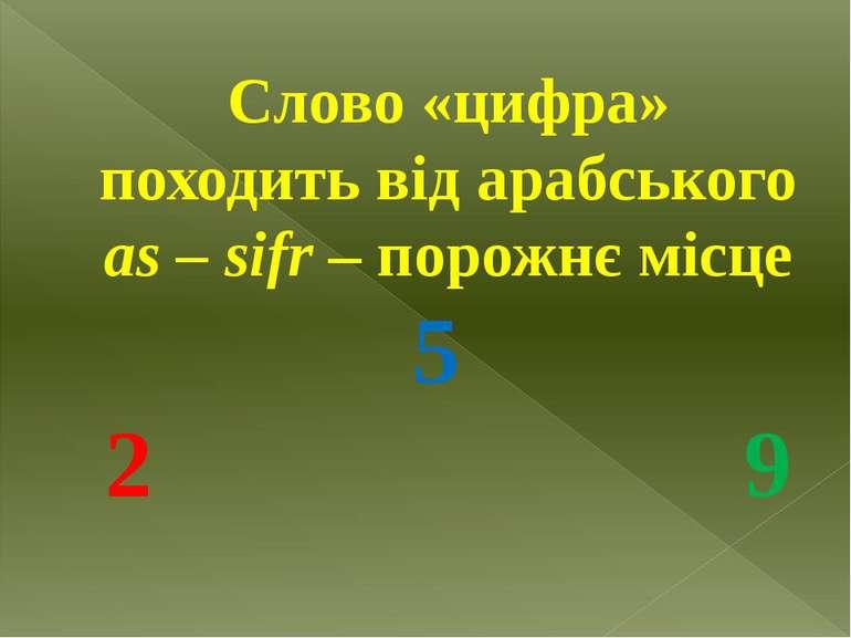 Слово «цифра» походить від арабського as – sifr – порожнє місце 5 2 9