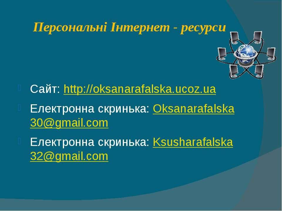 Персональні Інтернет - ресурси Сайт: http://oksanarafalska.ucoz.ua Електронна...