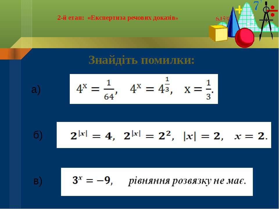 2-й етап: «Експертиза речових доказів» Знайдіть помилки: б) в) а)