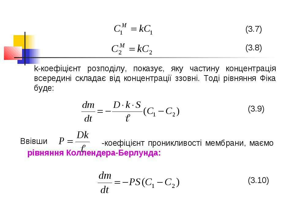 (3.7) (3.8) k-коефіцієнт розподілу, показує, яку частину концентрація всереди...