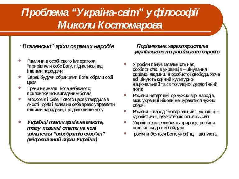 """Проблема """"Україна-світ"""" у філософії Миколи Костомарова """"Вселенські"""" гріхи окр..."""