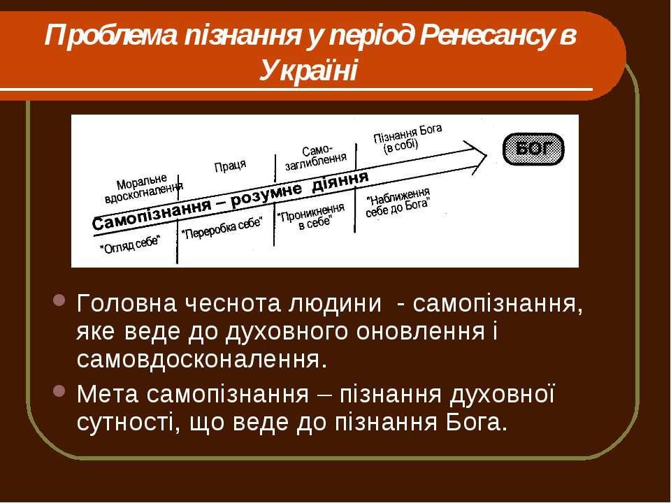Проблема пізнання у період Ренесансу в Україні Головна чеснота людини - самоп...
