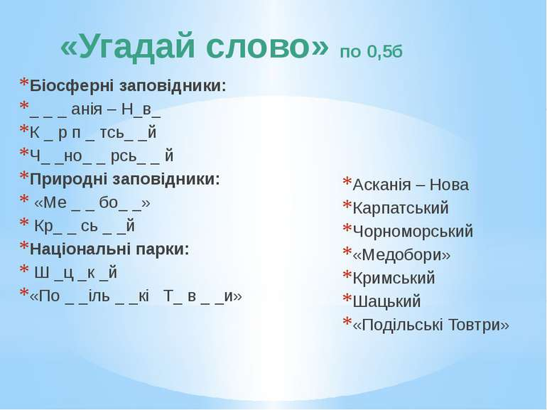 «Угадай слово» по 0,5б Біосферні заповідники: _ _ _ анія – Н_в_ К _ р п _ тсь...