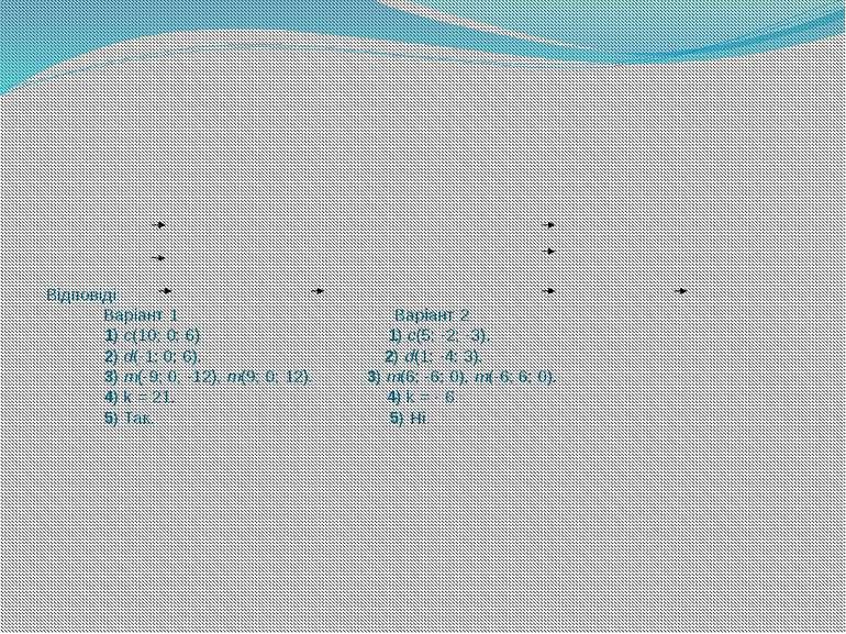 Відповіді: Варіант 1 Варіант 2 1) c(10; 0; 6) 1) c(5; -2; -3). 2) d(-1; 0; 6)...