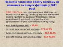 Проектні показники обсягу прийому на навчання та випуск фахівців у 2011 році ...