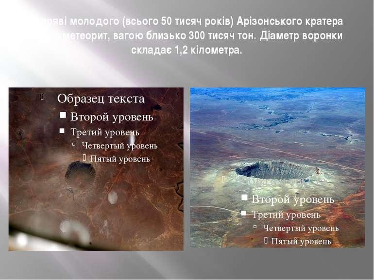 В появі молодого (всього 50 тисяч років) Арізонського кратера винен метеорит,...