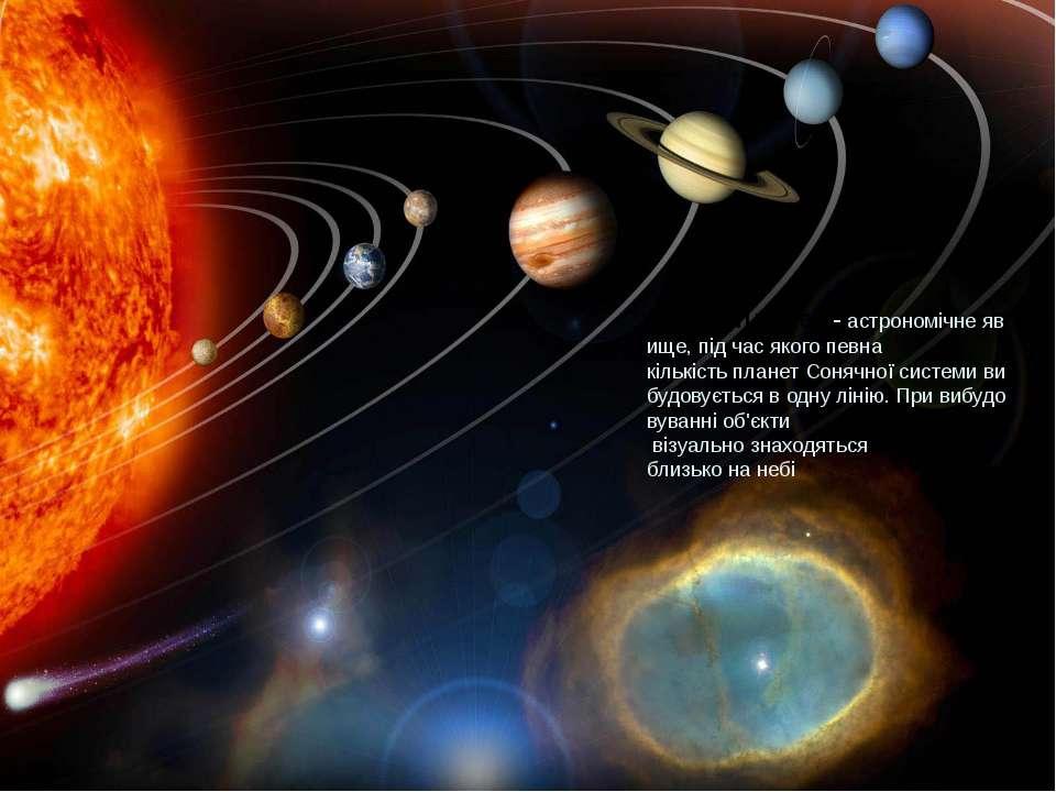 Парадпланет-астрономічнеявище, під часякогопевна кількістьпланетСоняч...
