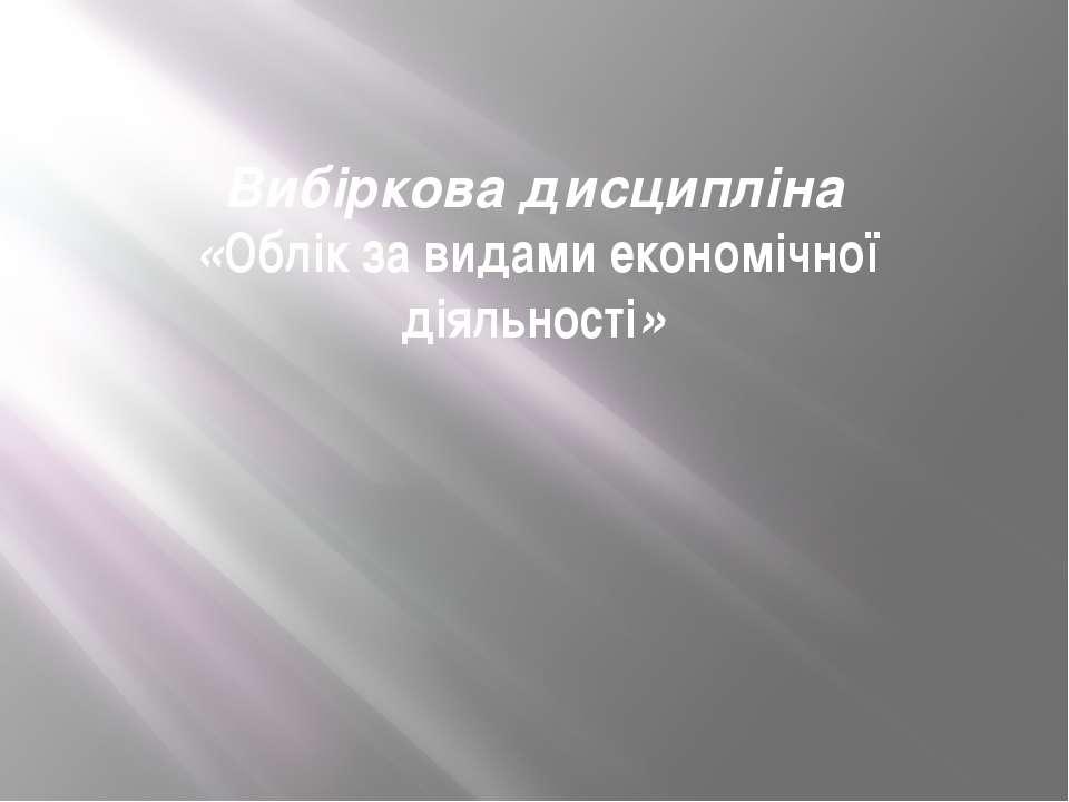 Вибіркова дисципліна «Облік за видами економічної діяльності»