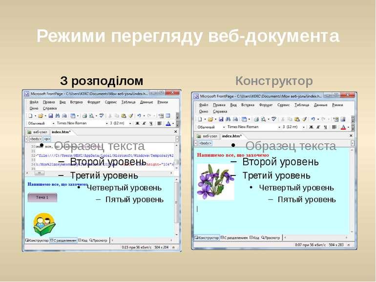 Режими перегляду веб-документа З розподілом Конструктор