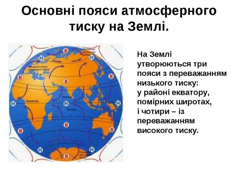 Основні пояси атмосферного тиску на Землі На Землі утворюються три пояси з пе...