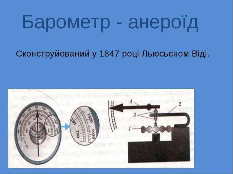 Барометр - анероїд Сконструйований у 1847 році Льюсьєном Віді