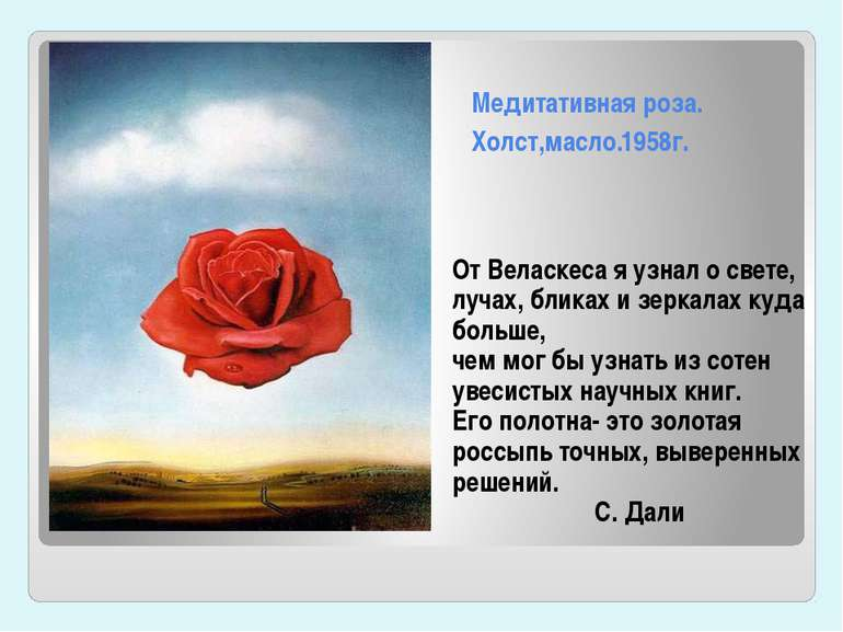 Медитативная роза. Холст,масло.1958г. От Веласкеса я узнал о свете, лучах, бл...