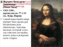 Портрет Лизы дель Джиокондо (Мона Лиза) 1503-1506 , деревo,масло, 77 x 53 cм,...