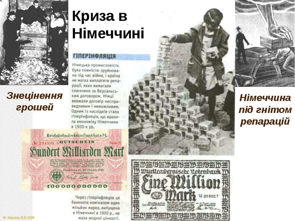 Німеччина під гнітом репарацій Знецінення грошей Криза в Німеччині © Жаріков ...