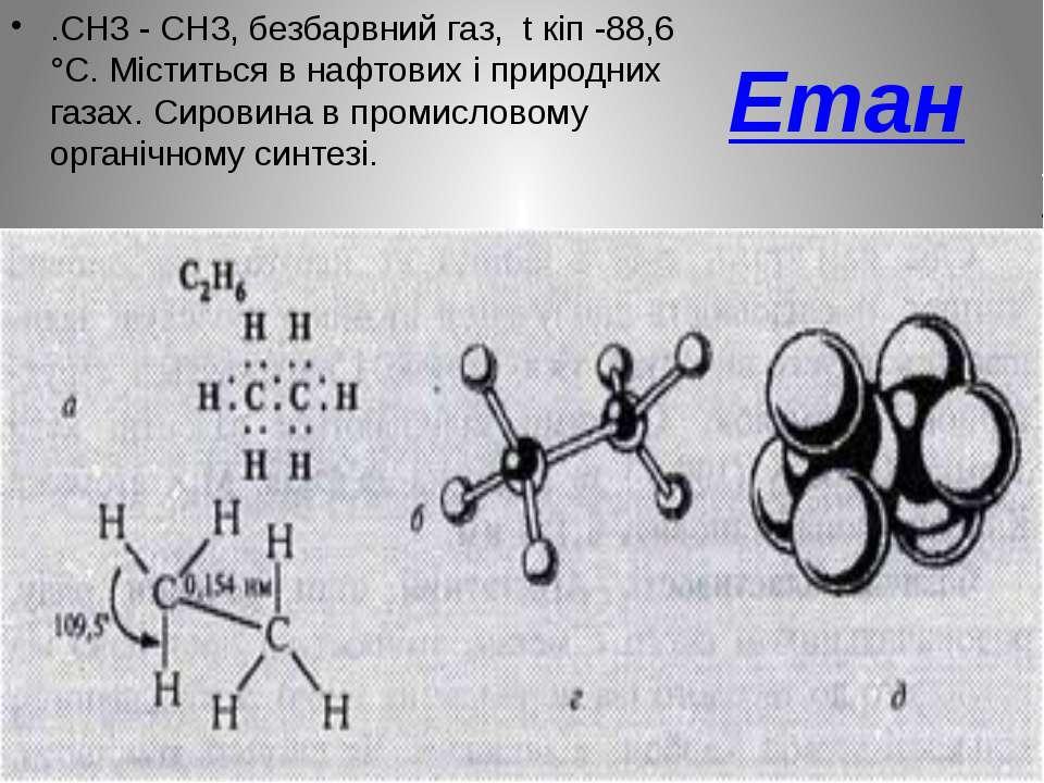 Етан .СН3 - СН3, безбарвний газ, t кіп -88,6 °С. Міститься в нафтових і приро...