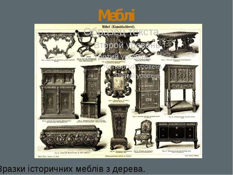 Меблі Зразки історичних меблів з дерева.