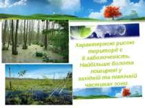 Характерною рисою території є її заболоченість. Найбільше болота поширені у з...