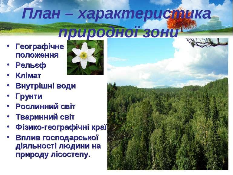 План – характеристика природної зони Географічне положення Рельєф Клімат Внут...