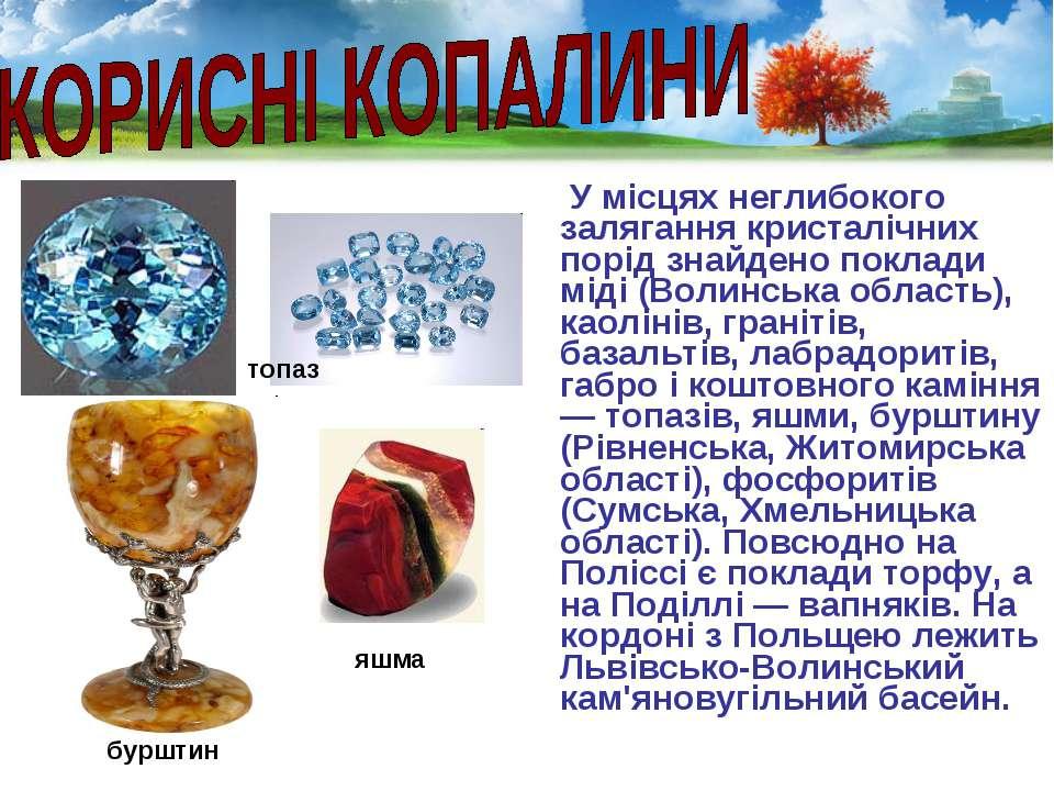 У місцях неглибокого залягання кристалічних порід знайдено поклади міді (Воли...