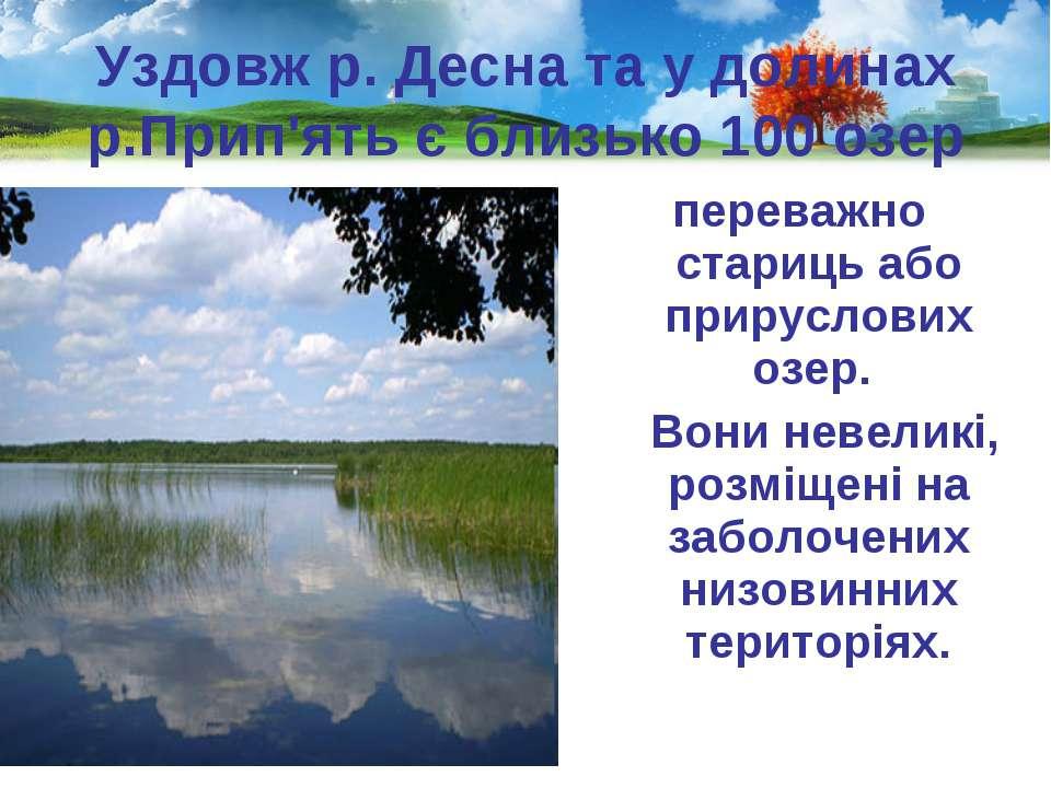 Уздовж р. Десна та у долинах р.Прип'ять є близько 100 озер переважно стариць ...