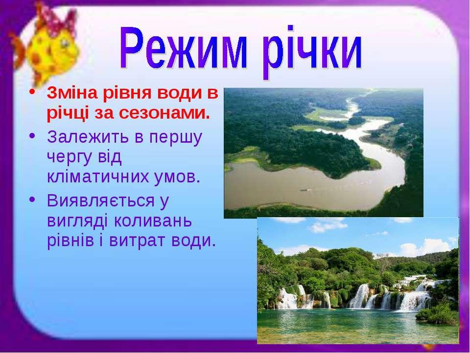Зміна рівня води в річці за сезонами. Залежить в першу чергу від кліматичних ...