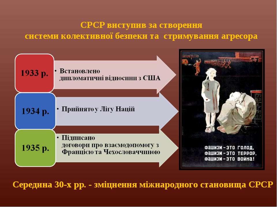 СРСР виступив за створення системи колективної безпеки та стримування агресор...