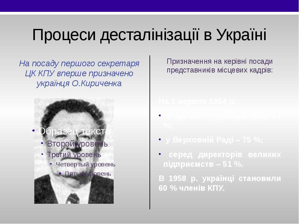 Процеси десталінізації в Україні На посаду першого секретаря ЦК КПУ вперше пр...