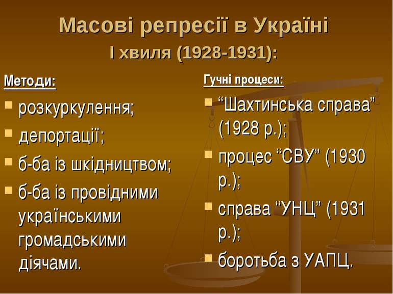 Масові репресії в Україні І хвиля (1928-1931): Методи: розкуркулення; депорта...