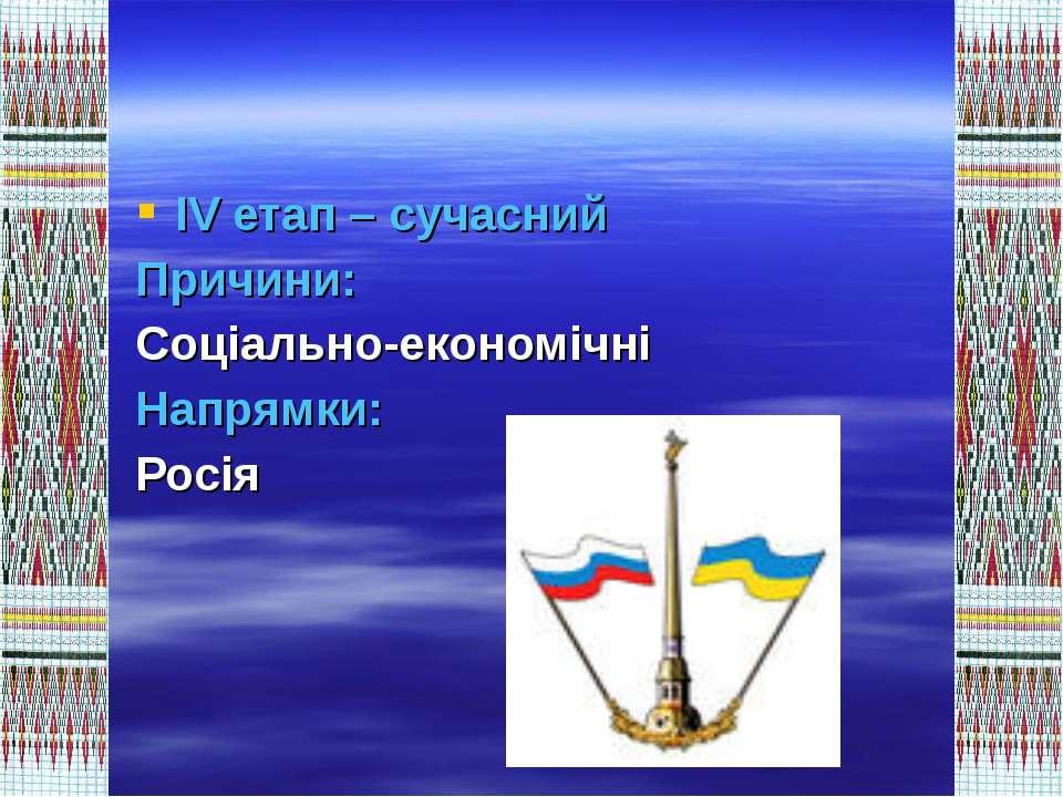 ІV етап – сучасний Причини: Соціально-економічні Напрямки: Росія